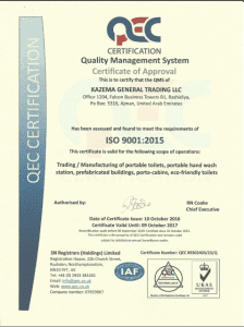 Kazema Portable toilets ISO Certificate (pic format)