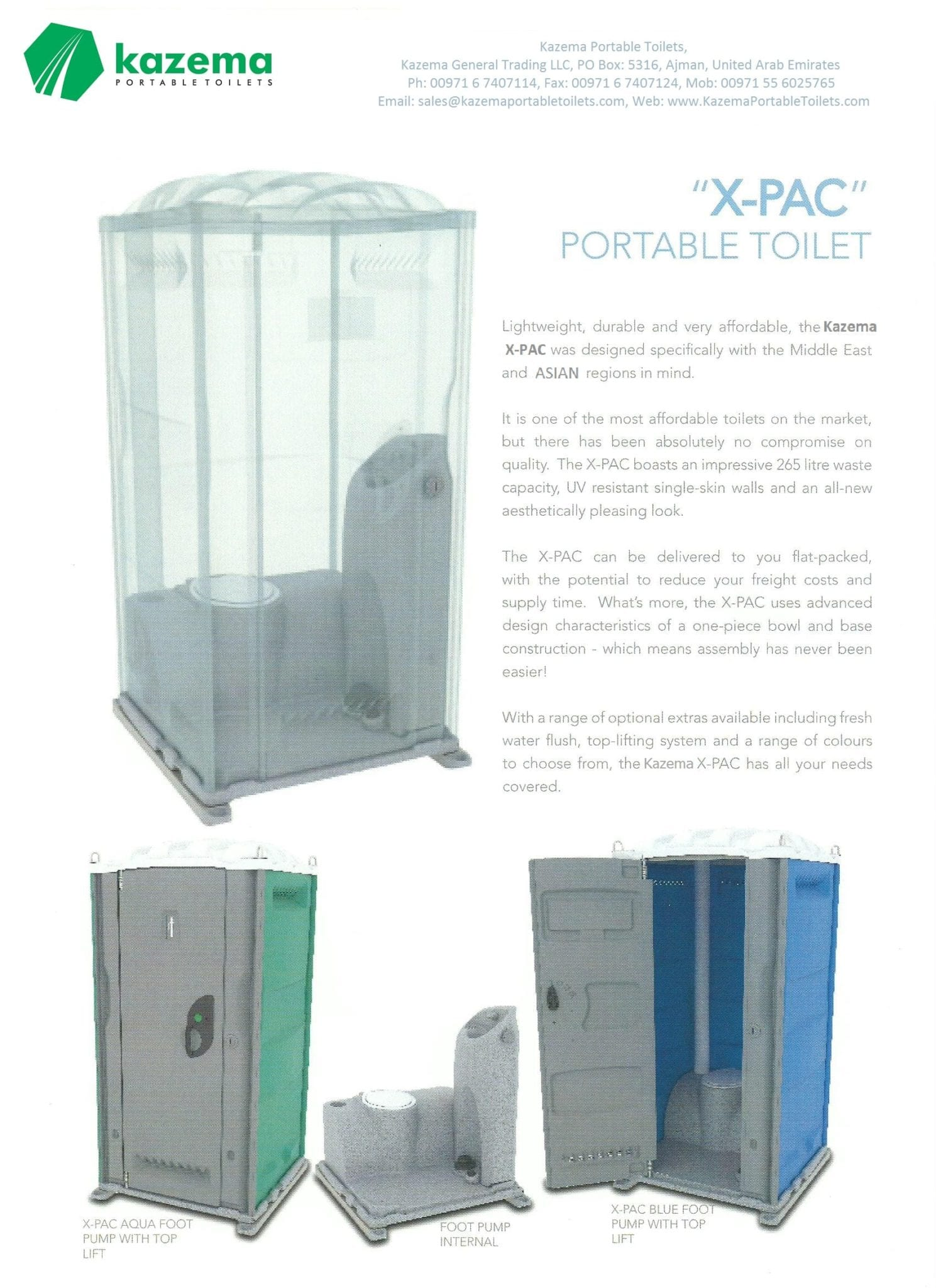 Plastic Toilet with Flush and wash | Kazema Portable Toilets